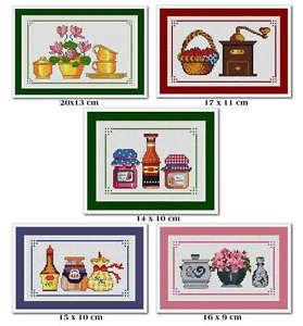 Cross-Stitch Embroidery Color Pattern with DMC codes - 5 Kitchen Designs