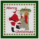 Cross-Stitch Embroidery Color Pattern DMC thread codes- Merry Christmas Santa