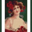 Cross-Stitch Embroidery Color Pattern w. DMC codes - Romantic Victorian Woman