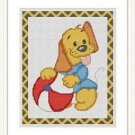 Cross-Stitch Embroidery Color Pattern with DMC codes - Happy Puppy