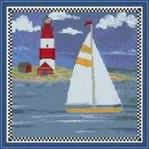 Cross-Stitch Embroidery Color Pattern with DMC codes - Summer Lighthouse #4
