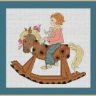 Cross-Stitch Embroidery Color Pattern with DMC codes -Little boy & rocking horse