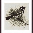 Cross-Stitch Embroidery Color Pattern with DMC codes - Little Bird on Pine Tree