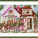 Cross-Stitch Embroidery Color Pattern with DMC codes - Flower Cottage