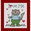 Cross-Stitch Embroidery Color Pattern with DMC codes - Love Me Cat Family #2