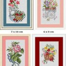 Cross-Stitch Embroidery Color Pattern with DMC codes - 4 Flower Designs