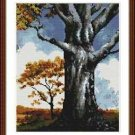 Cross-Stitch Embroidery Color Pattern with DMC codes - Old Oak Tree