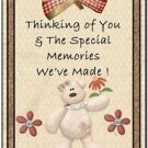 Primitive Country Folk Art Kitchen Refrigerator Magnet - Teddy Bear Thoughts #9