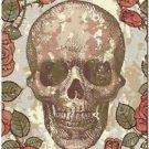 Primitive Country Folk Art Kitchen Refrigerator Magnet ~ Skull and Roses