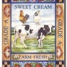 Primitive Country Folk Art Kitchen Refrigerator Magnet - Vintage Cream Label