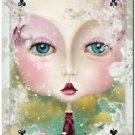 Primitive Country Folk Art Kitchen Refrigerator Magnet ~ Fantasy Card Ladies #3