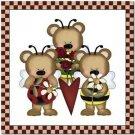 Beautiful Cute Decor Collectible Kitchen Fridge Magnet - Angel Bear Family #2