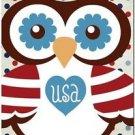 Beautiful Decor Design Collectible Kitchen Fridge Magnet - USA Patriot Owl