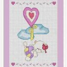 Cross-Stitch Embroidery Color Pattern with DMC codes - Cute Love Kitten #4
