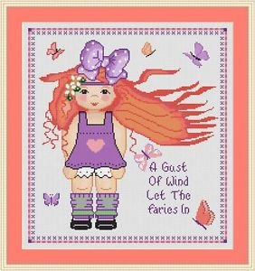 Cross-Stitch Embroidery Color Pattern with DMC codes -  Fairy Wind Girl