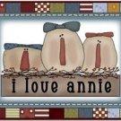Primitive Country Folk Art Kitchen Refrigerator Magnet - I Love Annie