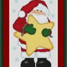 Cross-Stitch Embroidery Color Digital Pattern w. DMC codes - Santa with Star