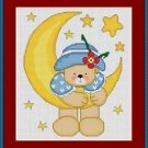 Cross-Stitch Embroidery Color Pattern with DMC codes -  Moon Teddy Bear