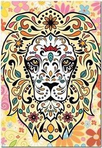 Decor Collectible Kitchen Fridge Magnet - Flower Sugar Skull Lion
