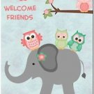 Beautiful Decor Design Collectible Kitchen Fridge Magnet - Owls and Elephant