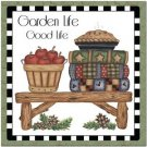 Primitive Country Folk Art Kitchen Refrigerator Magnet -Prim Country Garden Life
