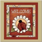 Primitive Country Folk Art Kitchen Refrigerator Magnet - Cute Ladybug Welcome