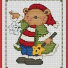 Cross-Stitch Embroidery Color Pattern with DMC thread codes - Christmas Bear