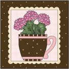 Primitive Country Folk Art Kitchen Refrigerator Magnet - A Cup of Flower