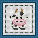 Cross-Stitch Embroidery Color Pattern with DMC codes - Cute Baby Calf