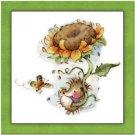 Primitive Country Folk Art Kitchen Refrigerator Magnet - Hedgehog & Sunflower