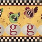 Primitive Country Folk Art Kitchen Refrigerator Magnet - Chickens and Eggs #2