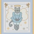 Cross-Stitch Embroidery Color Digital Pattern w. DMC codes - Angel Kitten Girl
