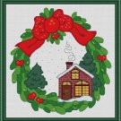 Cross-Stitch Embroidery Color Pattern with DMC thread codes- Christmas Wreath