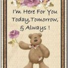 Primitive Country Folk Art Kitchen Refrigerator Magnet - Teddy Bear Thoughts #4