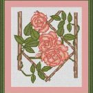 Cross-Stitch Embroidery Color Pattern with DMC codes - Pink Roses on the Fence