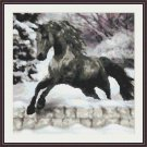 Cross-Stitch Embroidery Color PATTERN with DMC thread codes - Winter Horse #3