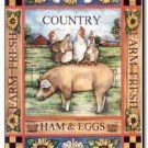 Primitive Country Folk Art Kitchen Refrigerator Magnet -Vintage Ham & Eggs Label