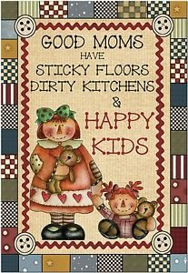 Primitive Country Folk Art Kitchen Refrigerator Magnet - Good Moms, Happy Kids