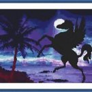 Cross-Stitch Embroidery Color PATTERN with DMC thread codes - Moonlight Pegasus