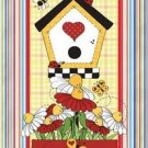 Primitive Country Folk Art Kitchen Refrigerator Magnet -Prim Birdhouse & Flowers