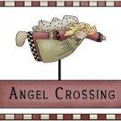 Primitive Country Folk Art Kitchen Refrigerator Magnet -Angel Crossing Prim Sign