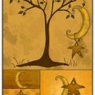 Primitive Country Folk Art Kitchen Refrigerator Magnet - Country Stars And Moons