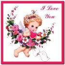 Cute Valentine's Day Love Kitchen Refrigerator Magnet - Love Angel and Roses