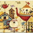 Primitive Country Folk Art Kitchen Refrigerator Magnet - Birdhouses & Teapots