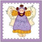 Primitive Country Folk Art Kitchen Refrigerator Magnet - Cute Patchwork Angel #4