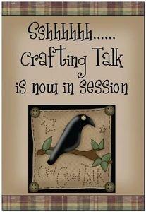 Primitive Country Folk Art Kitchen Refrigerator Magnet -Crafting Talk in Session
