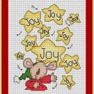 Cross-Stitch Embroidery Color Pattern with DMC thread codes -Christmas Mouse Joy