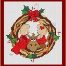 Cross-Stitch Embroidery Color Pattern with DMC thread codes- Rudolph Wreath