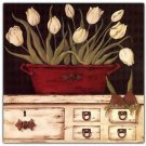 Primitive Country Folk Art Kitchen Refrigerator Magnet - White Country Tulips