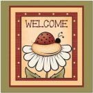 Primitive Country Folk Art Kitchen Refrigerator Magnet - Cute Ladybug Welcome #3